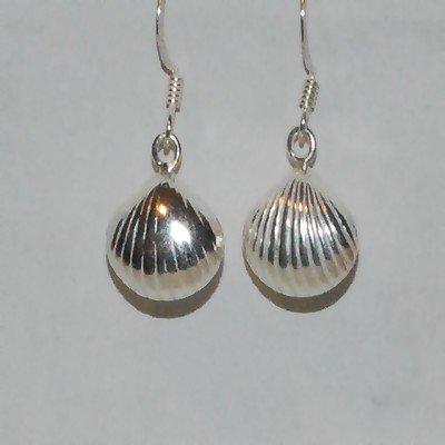 Sterling Silver Puffed SeaShell dangle earrings