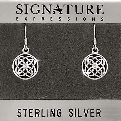 Sterling Silver Celtic Shield Knot Filigree Dangle Earring