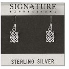 Sterling Silver with a small rectangle celtic dangle earrings