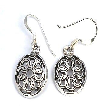 Sterling Silver Celtic knotted Shield Dangle Earrings
