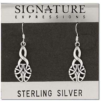 Sterling Silver Celtic Knot Tear Drop Dangle Earring
