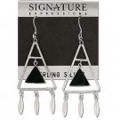 Sterling Silver Black Onyx Inlaid Triangle Suspened in Triangle with Feathers Hoop Earriings