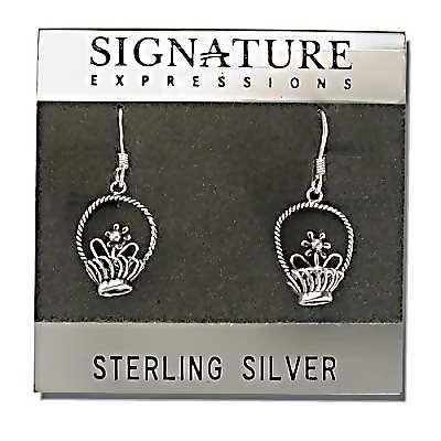 Sterling Silver Flower & Basket Dangle Earrings