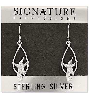 Sterling Silver Clown On Swing Dangle Earrings