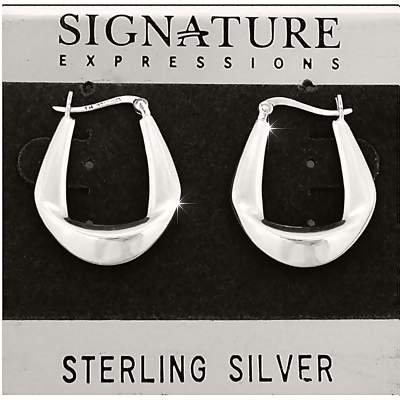 Sterling Silver Single Fold Wedge Hoop Earrings