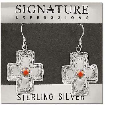 Sterling Silver SouthWest Cross with Stone in Center Earrings