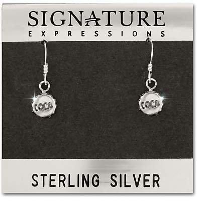 Sterling Silver Coca Bottle Cap Earrings