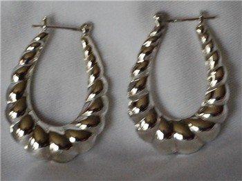 Sterling Silver Pair Shrimp Hoop Earrings