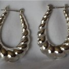Sterling Silver Pair Shrimp Hoop Earrings