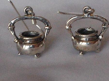Sterling Silver Pair Kettle Pot / Cauldron Dangle Earring