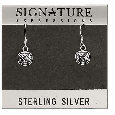 Sterling Silver Square Oxidized Smily Face Dangle Earrings