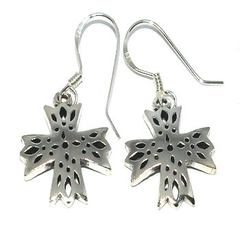Sterling Silver Cross Windows Dangle Earrings
