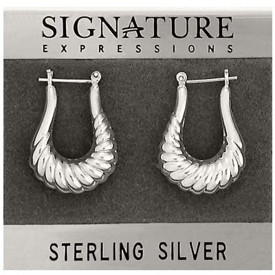 Sterling Silver Long Shrimp Open Hoop Earrings