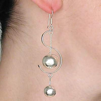 Sterling Silver Double Ball within S curve Dangle Earrings