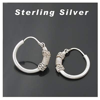 Sterling Silver Bali Design Hoops rope coil earring 1/2 diameter
