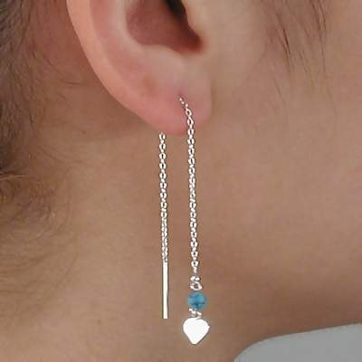 Sterling Silver Turquoise and Heart Dangle Ear Threads Earrings