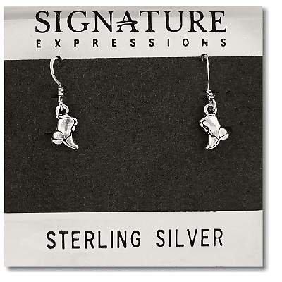 Sterling Silver Boots Dangle Earrings