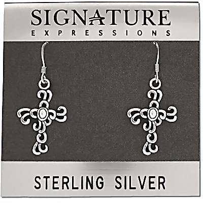 Sterling Silver Filigree Cross Dangle Earring