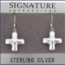 Sterling Silver Puff Cross Earrings.