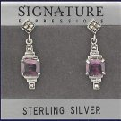Sterling Silver Genuine Amethyst cubic zirconia & Marcasite Earrings