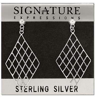Sterling Silver Criss-Cross Rope Weave Diamond Shape Dangle Earrings