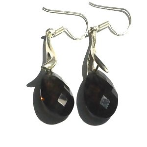Sterling Silver Black Onyx with Smokey tint Dangle Earrings