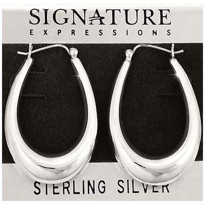 Sterling Silver Long U Puffed Hoop Earrings