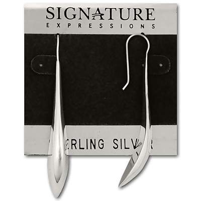 Sterling Silver Long Graceful Curved Dangle Earring