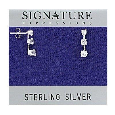 Sterling Silver Triple Drop Clear CZ Stud Earrings