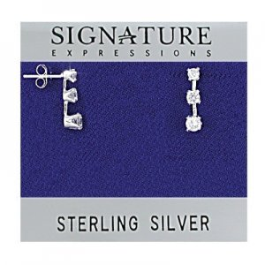 Sterling Silver Triple Drop Clear CZ Stud Earrings