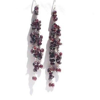 Sterling Silver Red Garnet Long Dangle Earrings