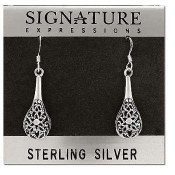 Sterling Silver Filigree Flower Vase Dangle Earrings