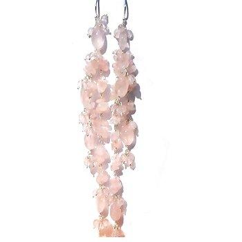 Sterling Silver Rose Quartz Long Dangle Earrings
