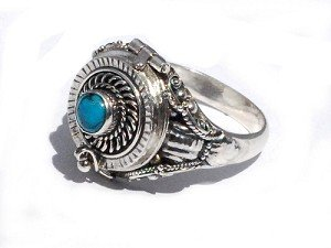 Sterling Silver Poison Ring with Genuine Turquoise