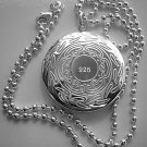 Sterling Silver Round Engraved Locket Necklace