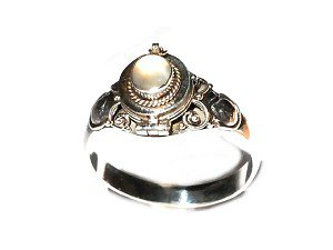 Sterling Silver thin Poison Ring with Genuine MoonStone  5,6,7,8,9,10