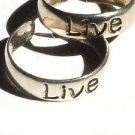 Sterling Silver Adjustable Toe Ring with the word LIVE Engraved