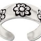 Sterling Silver toe ring with engraved flowers