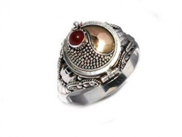 Sterling Silver Poison Ring with Carnelian and 18k Gold  Size 7,8,9,10,11