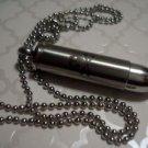 """Stainless Steel Stash Skull & Skeletons Bullet Pendant Opens 1 7/8"""""""