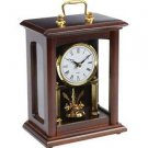 Kassel Quartz Table Clock Wood Gold Tone Glass Front Office Mantle Timepiece