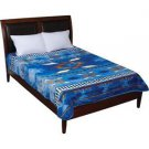 Blue Southwestern Print Soft Plush Luxury Blanket Queen or King Size Bed