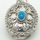 Sterling Silver Oval Prayer Box Keepsake Pendant Turquoise