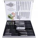 Master Chef Diamond Cut 19pc Cook Kitchen Super Sharp Cutlery Knife Set New