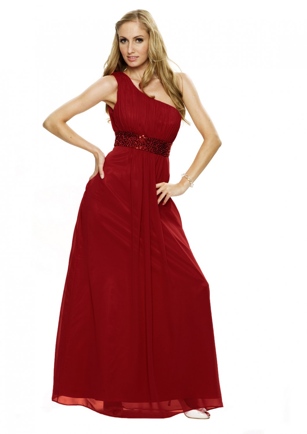 BR7111 Scarlet Size USA 4: One shoulder Beaded Bridesmaid Evening Dress Gown