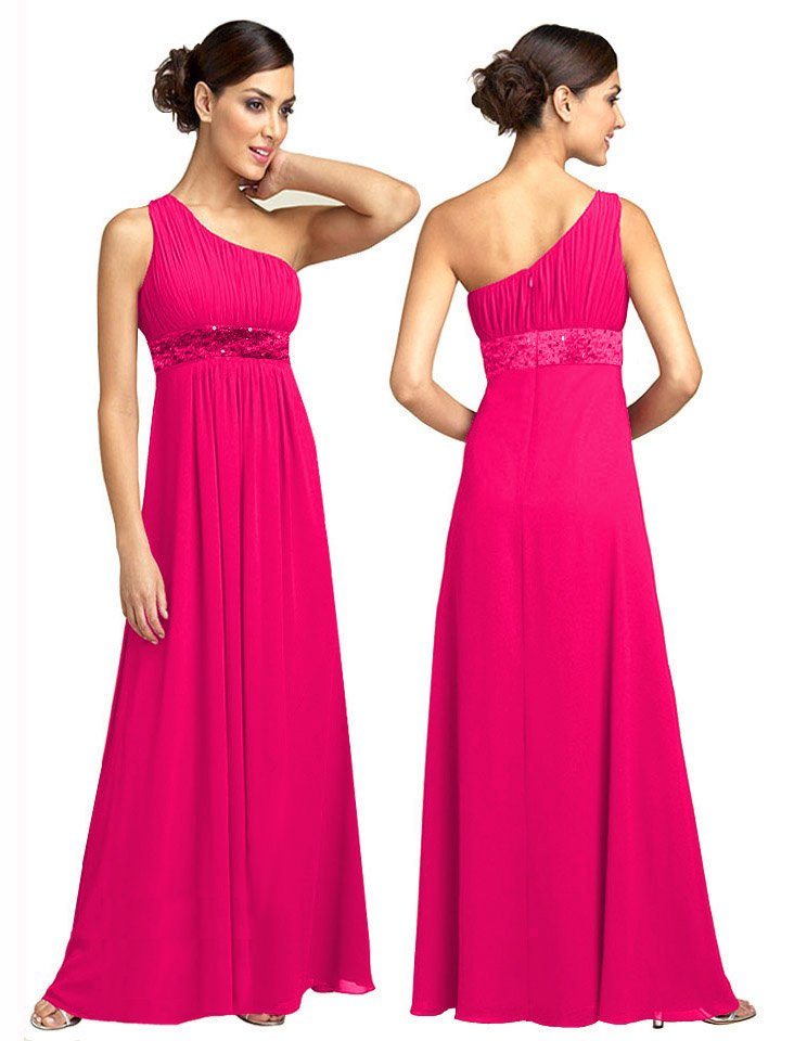 BR7111 Hot pink Size USA 4: One shoulder Beaded Bridesmaid Evening Dress Gown