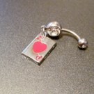 """14G Ace Hearts belly ring navel card charm clear double gem 3/8"""" Red"""