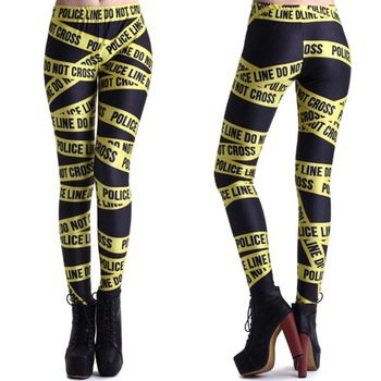 S-M Leggings stretchy womens Police Line Tape tattoo girls Small medium