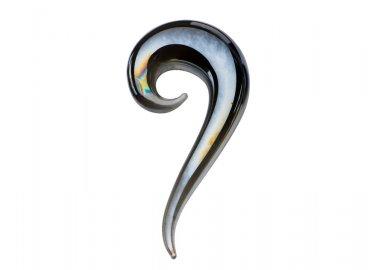 4G Pyrex pair taper gray metallic glass tail plugs twist ear stretcher autoclavable