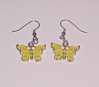 (SOLD) Green and Yellow Butterfly Earrings (Pierced Ears)